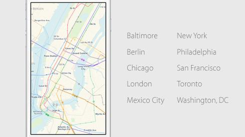 Apple Maps cities